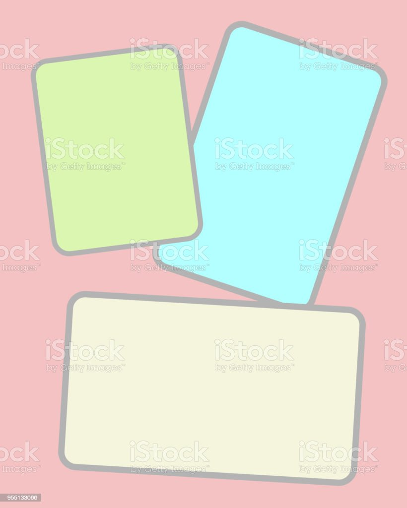 three multicolored paper sheets for notes stock vector art more
