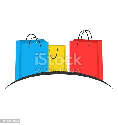 Three multicolored shopping bags like emblem isolated on white background
