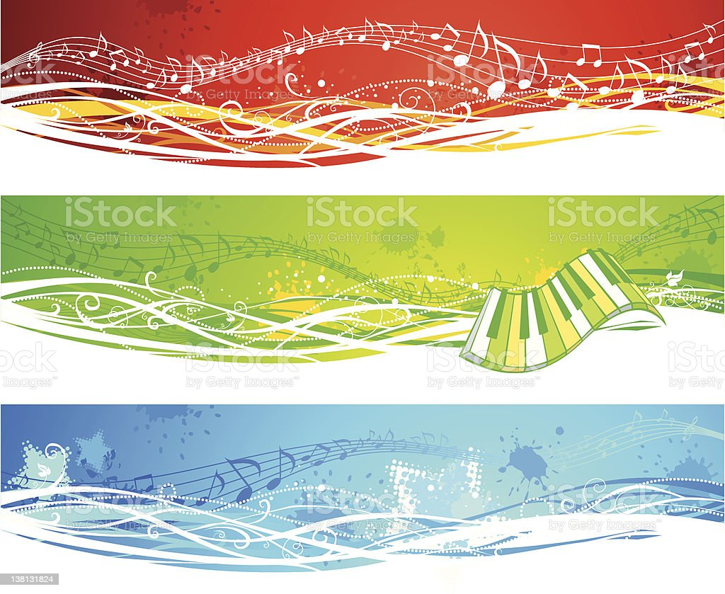 Three music banners royalty-free stock vector art