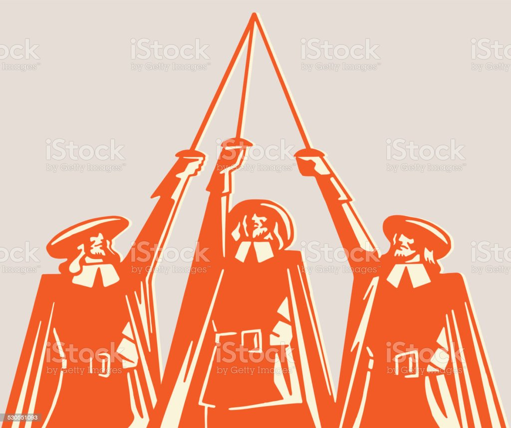 Three Musketeers Raising Swords Stock Vector Art More Images Of