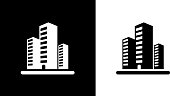Three Office Buildings..This royalty free vector illustration features the main icon on both white and black backgrounds. The image is black and white and had the background rendered with the main icon. The illustration is simple yet very conceptual.