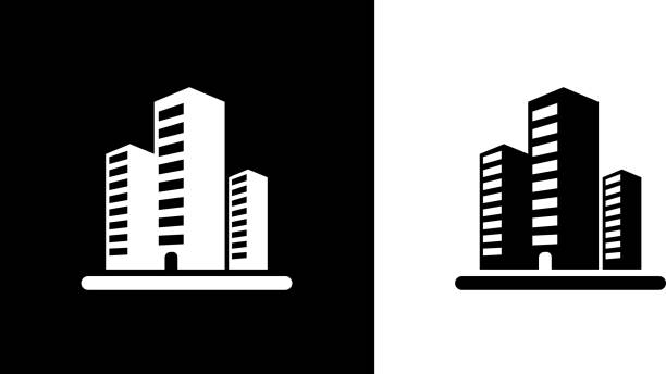 Three Office Buildings. vector art illustration