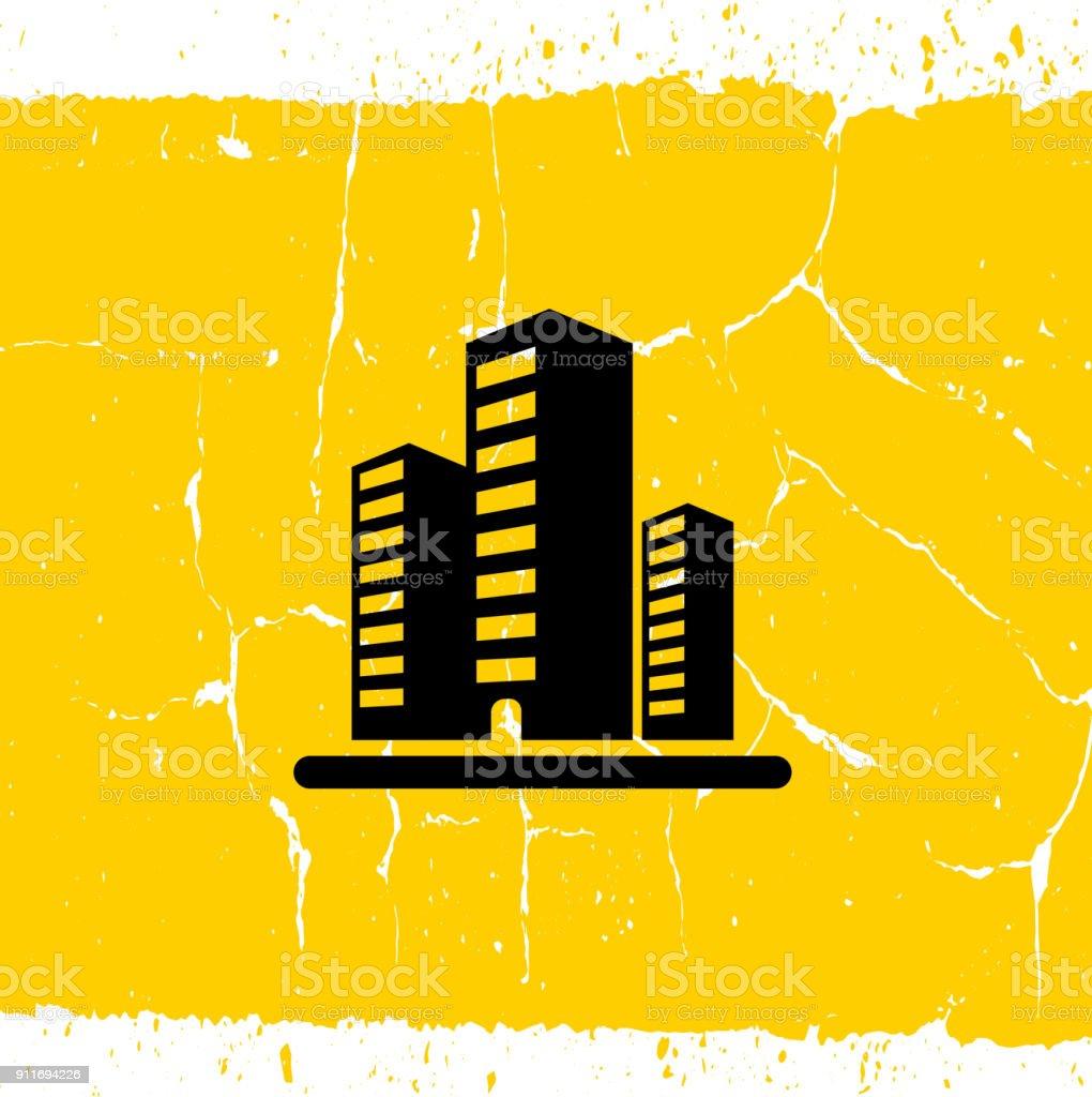 Three Office Buildings. vector art illustration