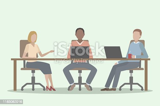 istock Three office employees working together at common table. Vector illustration. 1183082016