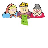 Three old ladies, home of seniors, funny vector illustration. Colored isolated icon. Banner, place for text.