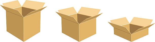 Three open Cardboard Boxes vector art illustration