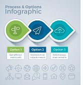 Three option rocess and options business infographic concept with space for your copy. EPS 10 file. Transparency effects used on highlight elements.