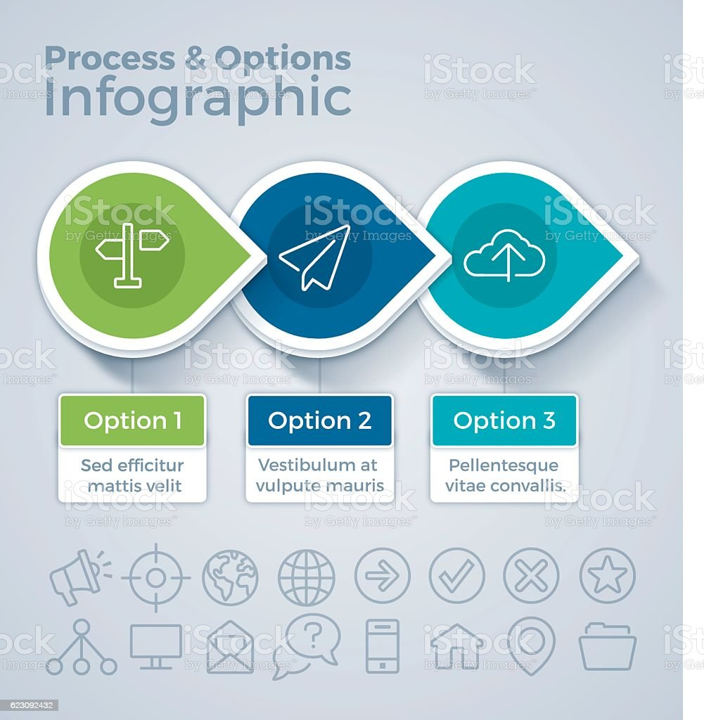 Three Option Process and Options Infographic vector art illustration