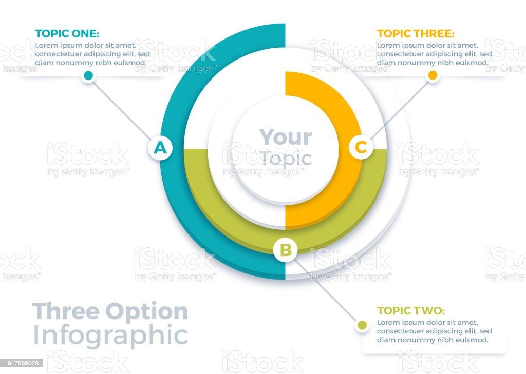 Three Options Infographic Pie Chart vector art illustration