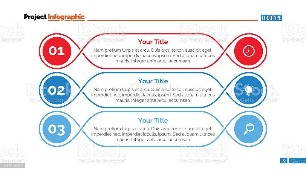 Three Outlined Steps Slide Template vector art illustration