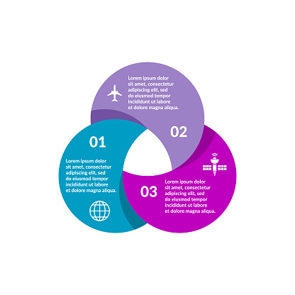 Business presentation, chart, diagram, graph. 3 parts, options, steps or processes. Infographic design template. Vector illustration, flat.