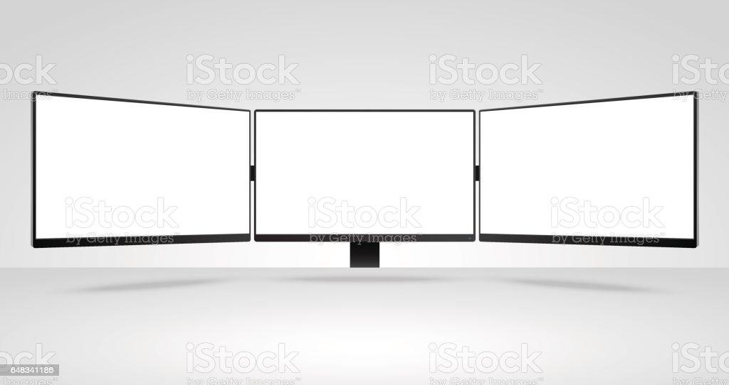 Trois panneaux de maquette de moniteurs d'ordinateur avec écran blanc blanc - Illustration vectorielle