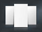 Stack of three white paper sheets. Booklet, business card, postcard or flyer mockup template. Vector illustration.