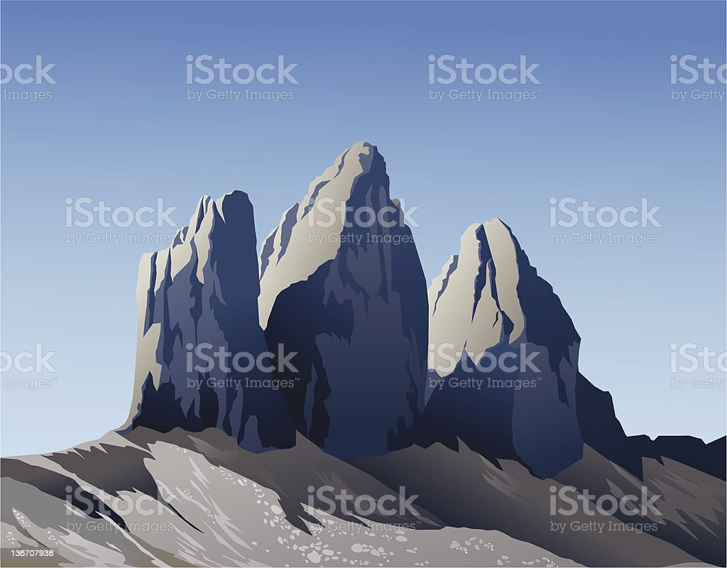 Tre Cime di Lavaredo royalty-free stock vector art