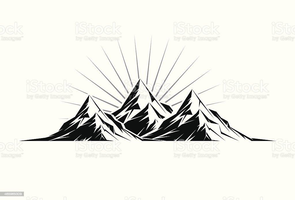 Three Peaks vector art illustration