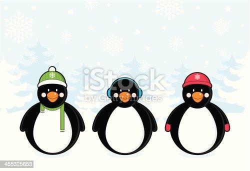 istock Three Penguins in the Snow 455325653
