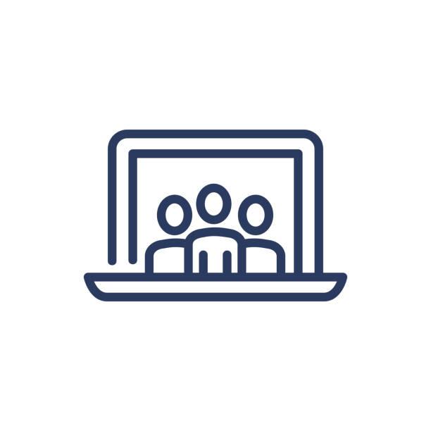 stockillustraties, clipart, cartoons en iconen met drie mensen op laptop scherm dun lijnpictogram - wat