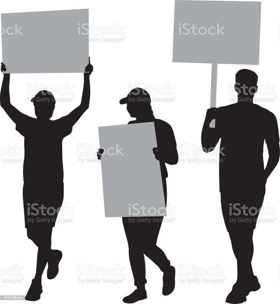 Three People Protesting Silhouettes - ilustração de arte vetorial