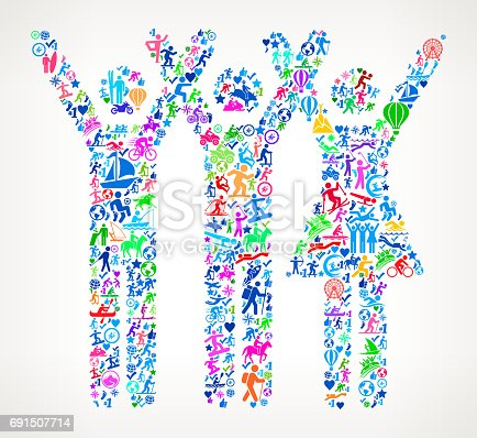 istock Three People Rasing Hands Active Lifestyle Vector Icon Pattern 691507714