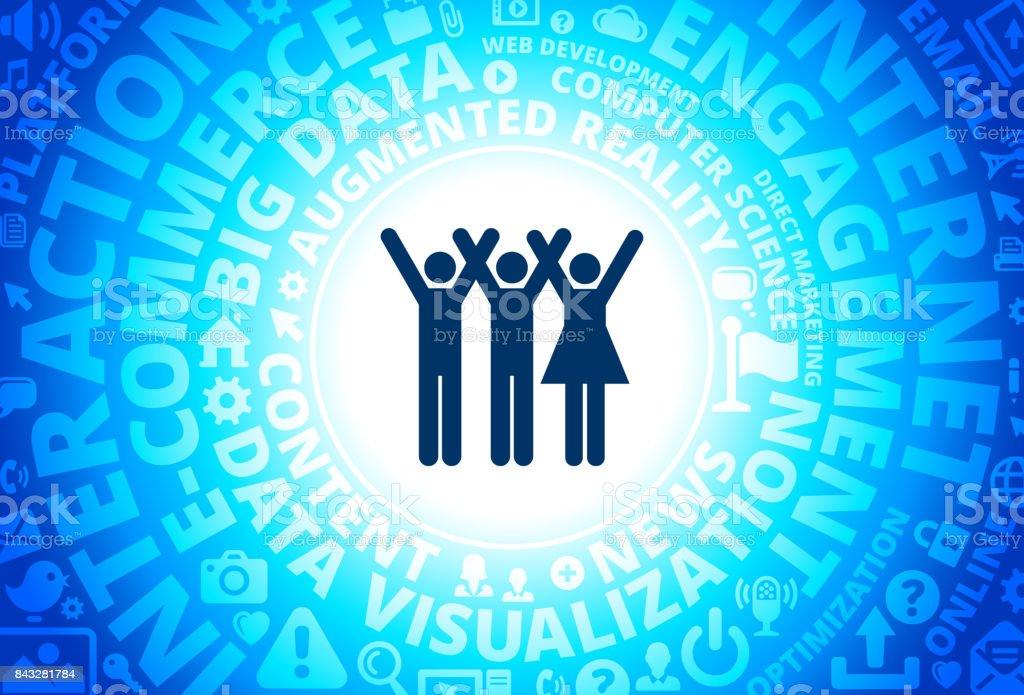 Three People Rasing Hands Icon on Internet Modern Technology Words Background vector art illustration