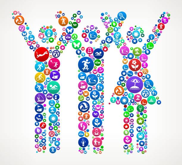ilustrações de stock, clip art, desenhos animados e ícones de three people rasing hands summer colorful vector icon pattern - mulher natureza flores e piscina