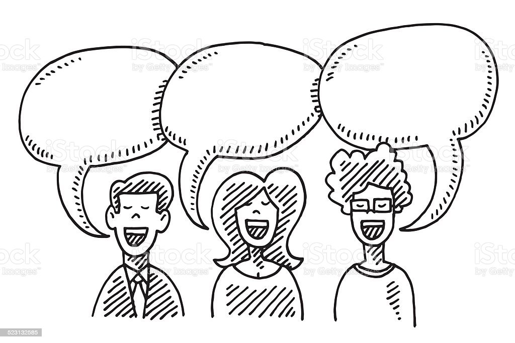 three people speech bubbles communication drawing stock
