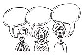 Hand-drawn vector drawing of Three People and Speech Bubbles, Communication Concept Image. Black-and-White sketch on a transparent background (.eps-file). Included files are EPS (v10) and Hi-Res JPG.
