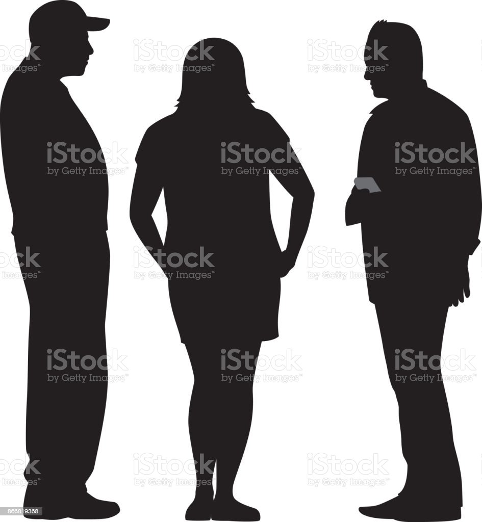 Three People Talking Silhouette vector art illustration