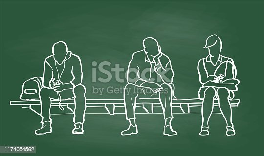 people sitting on a bench and waiting for the train, vector illustration