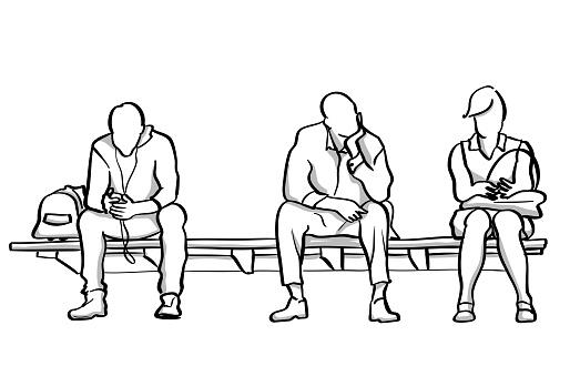 Three People Waiting Metro