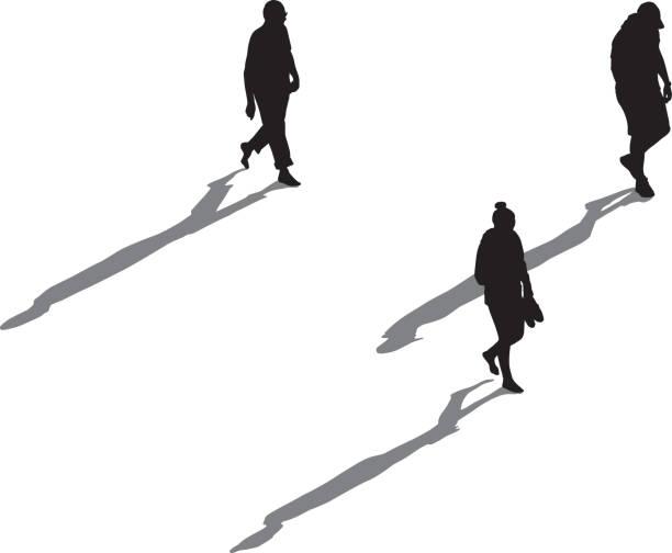 3 人の長い影歩い - 人 俯瞰点のイラスト素材/クリップアート素材/マンガ素材/アイコン素材
