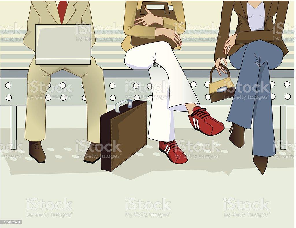 Three People's Legs Sitting in Waiting Room royalty-free stock vector art