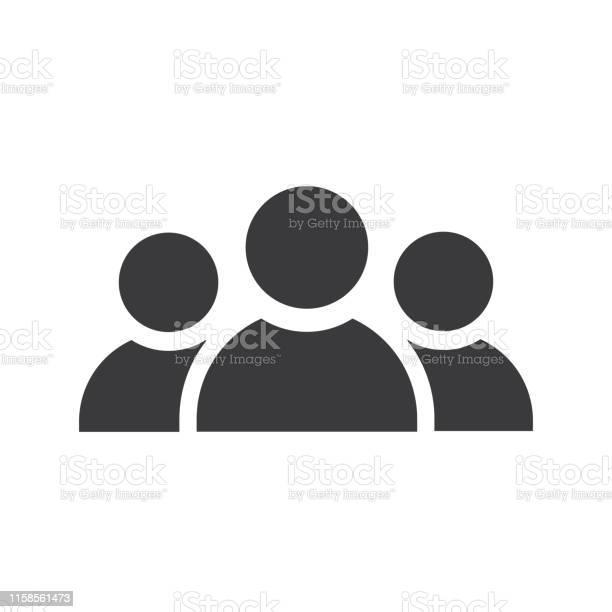 Three Persons Icon Black Vector - Arte vetorial de stock e mais imagens de Adulto