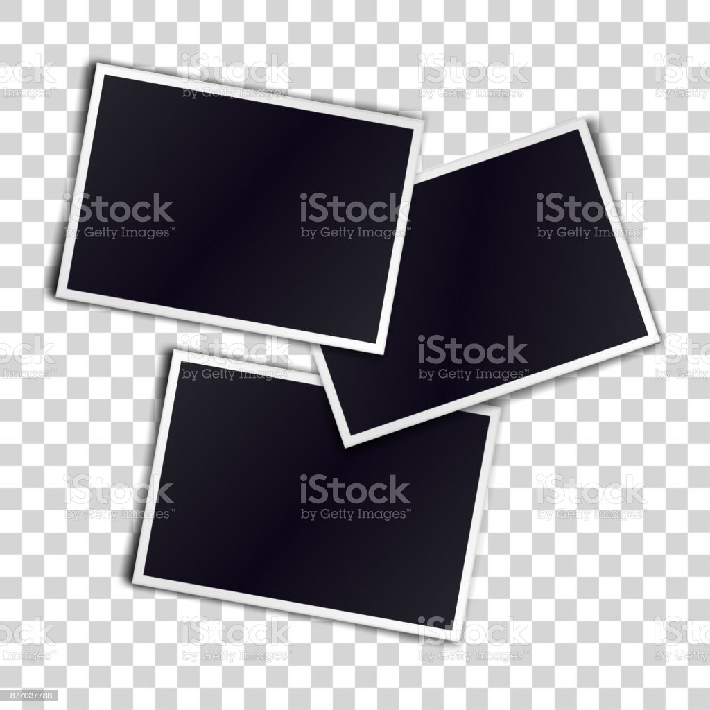 Three photorealistic blank retro photo frames over transparent background. Vector illustration. vector art illustration
