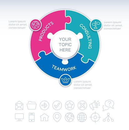 Three Piece Circle Puzzle Infographic Element