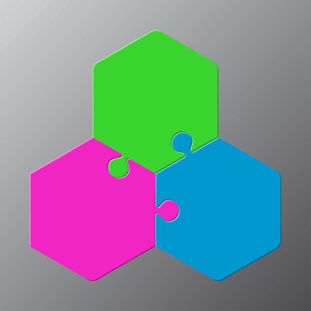 ilustrações de stock, clip art, desenhos animados e ícones de three pieces jigsaw puzzle hexagonal infographic. - inteiro