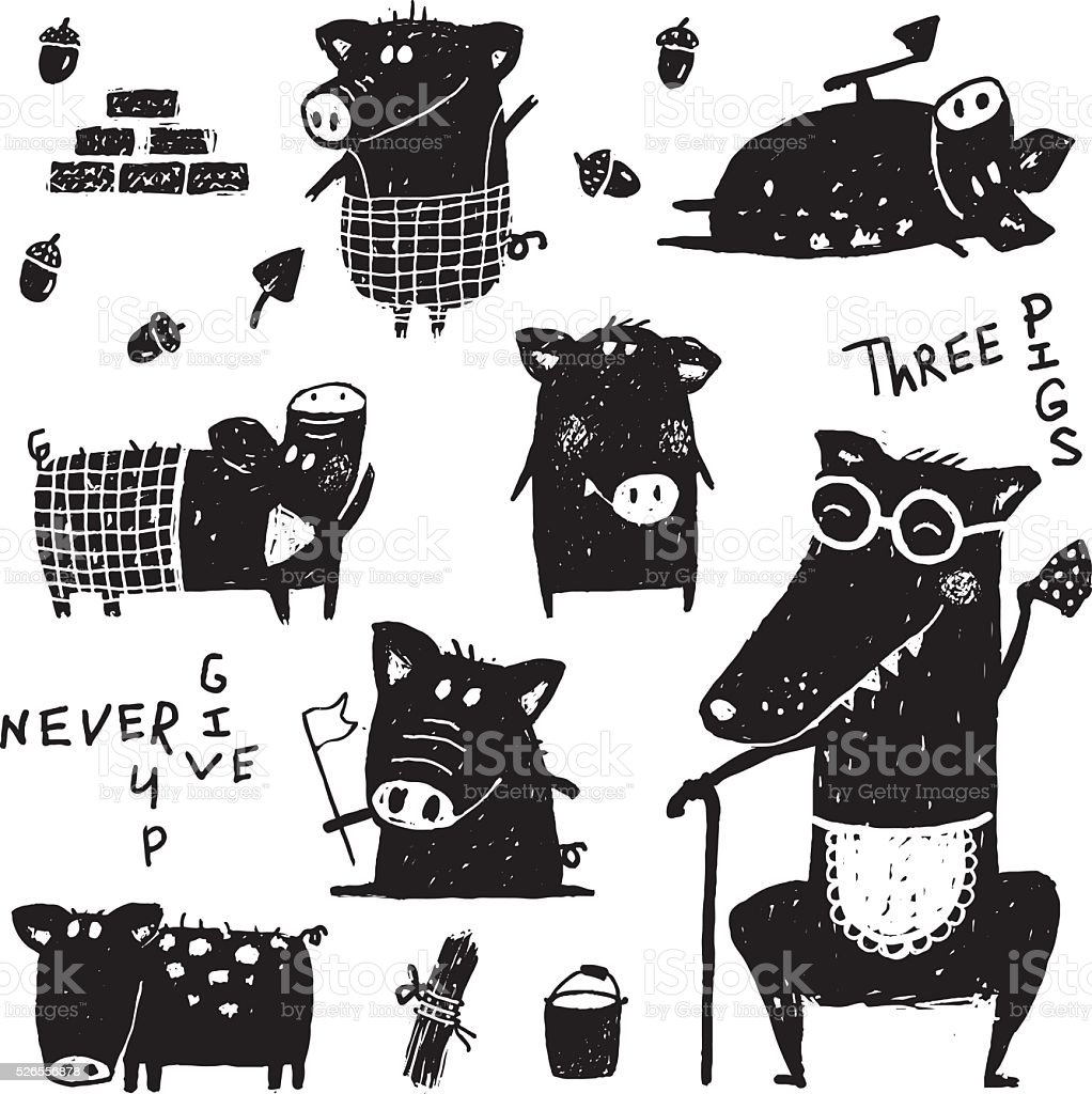Three pigs and wolf funny set black white scribble fairy vector art illustration