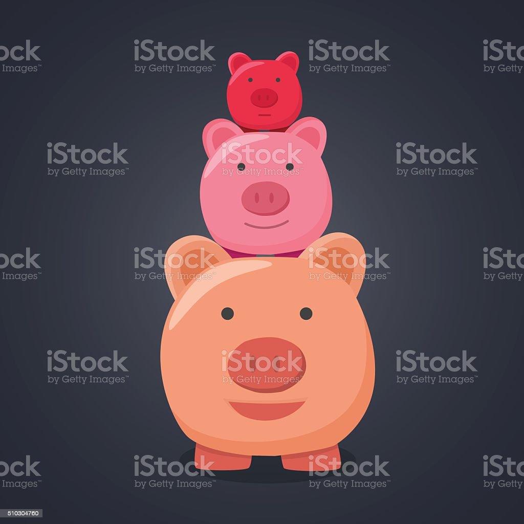 Three pigs cute. vector art illustration