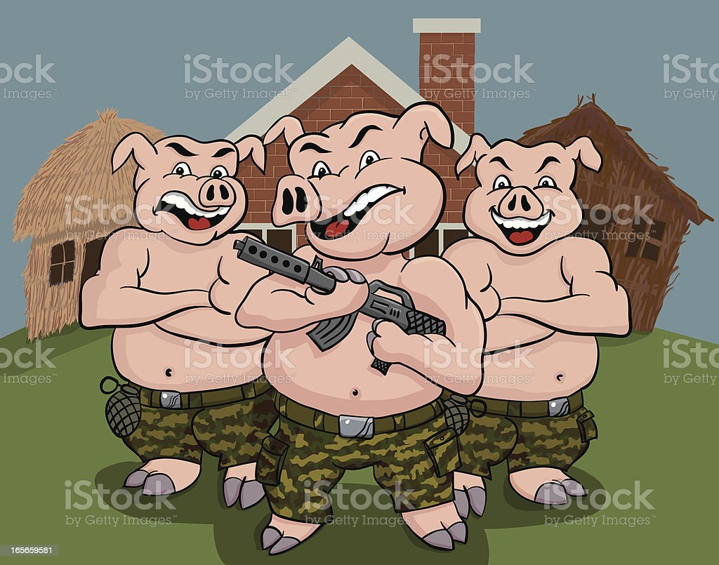 Three Pigs Protecting their Homes vector art illustration