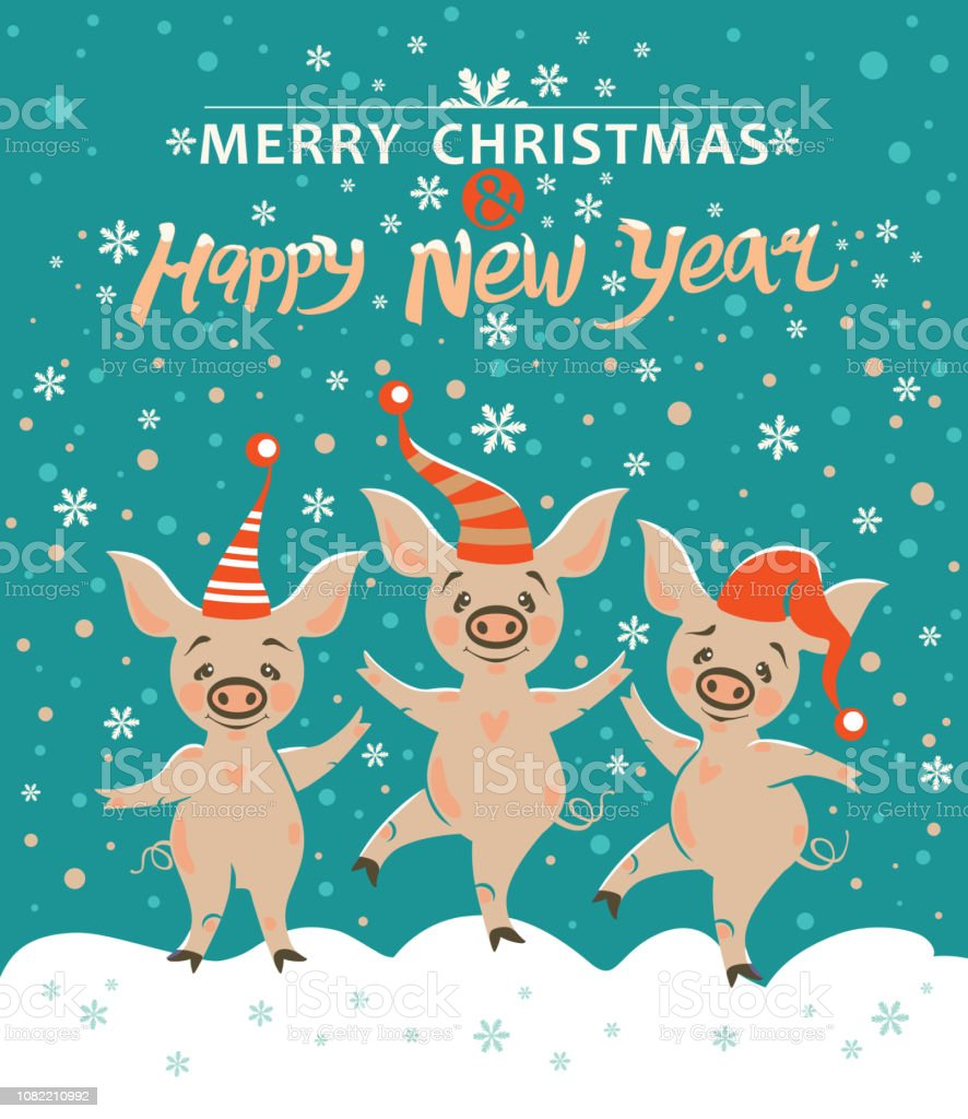 17edfb3eb Three Pigs Very Cute Pigs In Holiday Hats Rejoice In Falling Snow ...