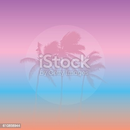 Coconut palms silhouette in pastel colours