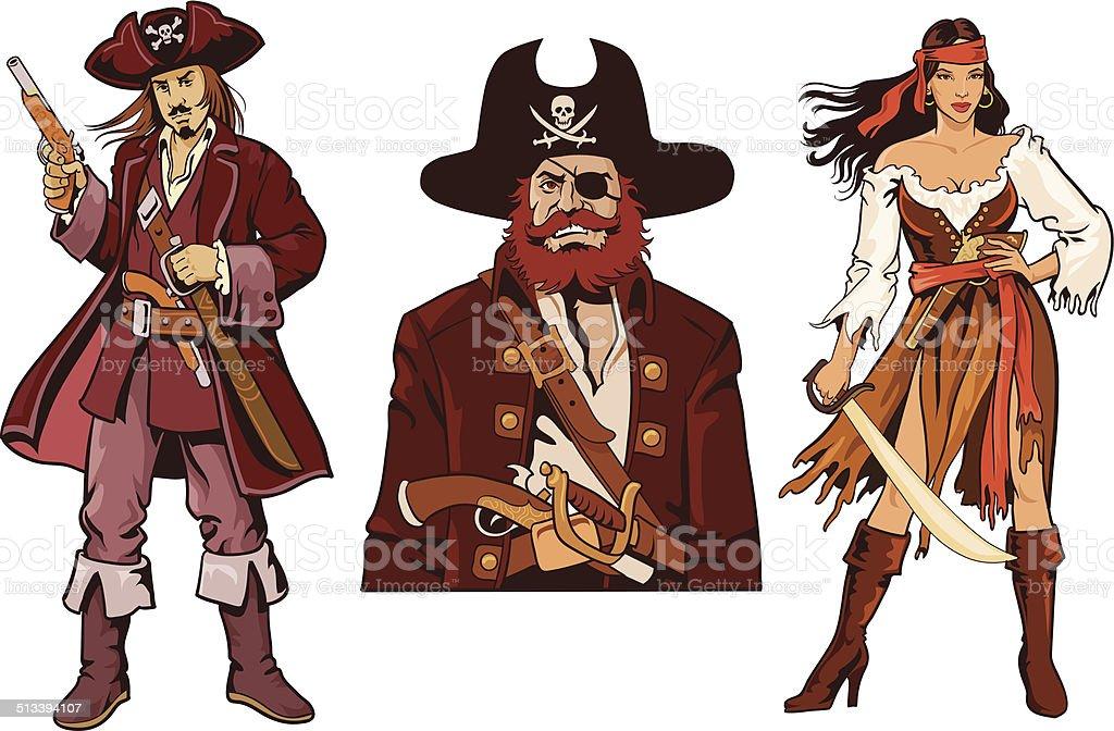 Three Pirates Characters - Avatars vector art illustration