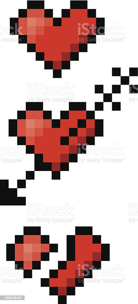 Three pixelated hearts vector art illustration