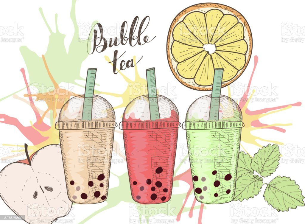 Three plastic cups with bubble tea, fruits and colorful splashes vector art illustration