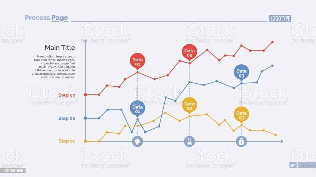Three Point Charts Slide Template vector art illustration