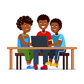 Three poor African kids girl & two boys sit on bench and sharing one laptop on school desk. African poverty metaphor. Flat isolated vector