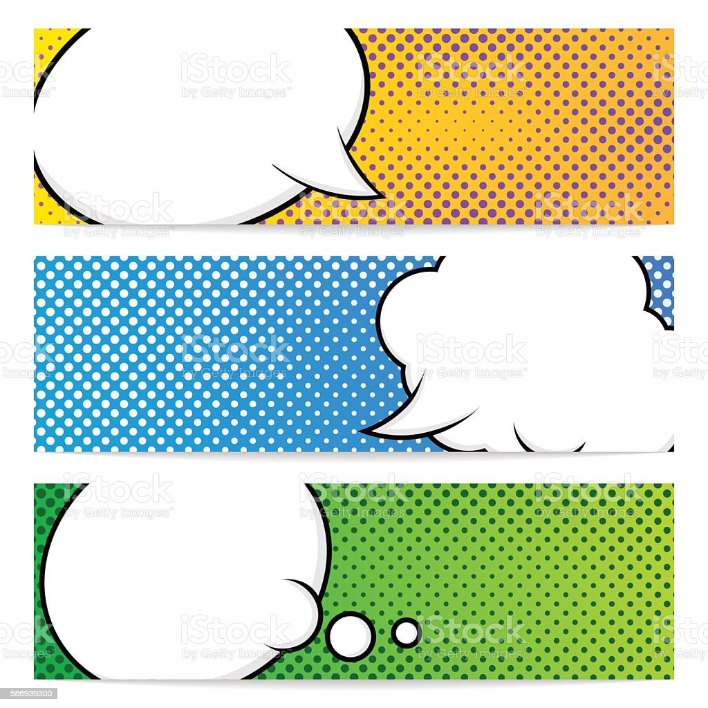 Three pop art banners template vector art illustration