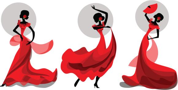 Three poses of flamenco dancer