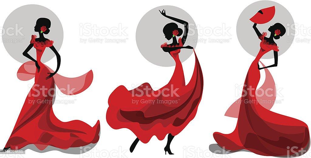 Tres poses de flamenco bailarín - ilustración de arte vectorial