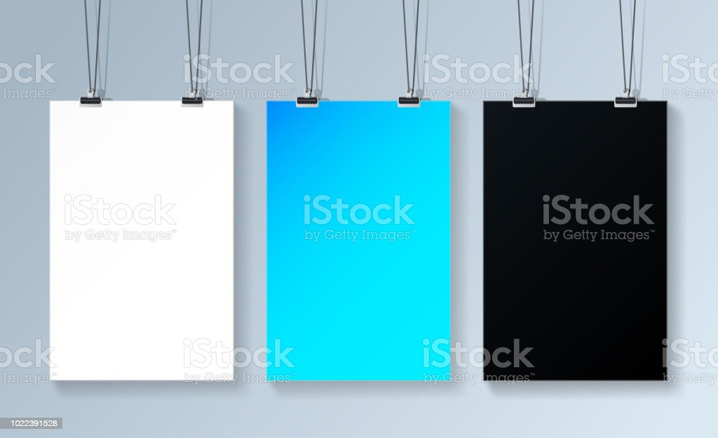 three poster mockup hanging on the wall three posters template for